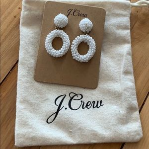 J. Crew. White beaded drop earrings. NWT.